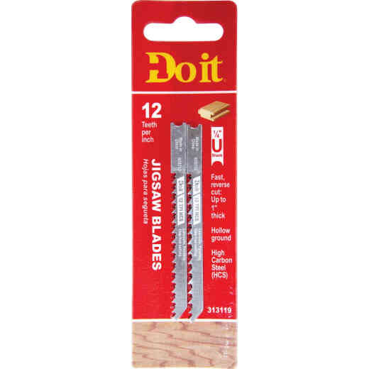 Do it Best U-Shank 3-1/8 In. x 12 TPI High Carbon Steel Reverse Cut Jig Saw Blade, Wood/Laminate (2-Pack)