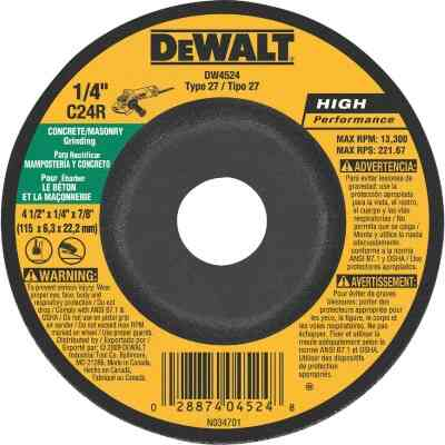 DeWalt HP Type 27 4-1 In. x 1/4 In. x 7/8 In. Masonry Grinding Cut-Off Wheel
